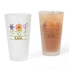 Kaia with cute flowers Drinking Glass