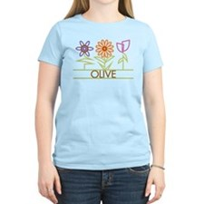 Olive with cute flowers T-Shirt