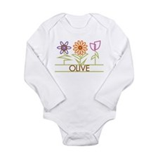 Olive with cute flowers Long Sleeve Infant Bodysui