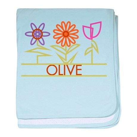 Olive with cute flowers baby blanket