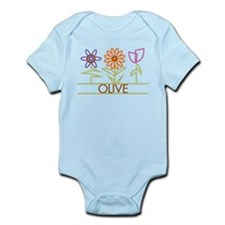 Olive with cute flowers Onesie