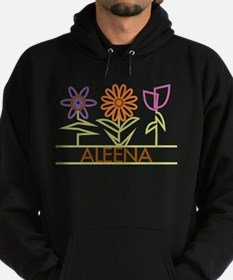 Aleena with cute flowers Hoodie (dark)