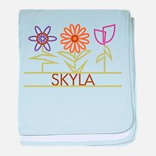 Skyla with cute flowers baby blanket