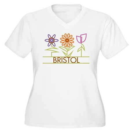 Bristol with cute flowers Women's Plus Size V-Neck