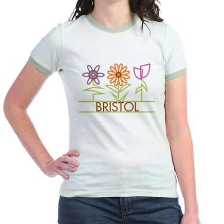 Bristol with cute flowers Jr. Ringer T-Shirt