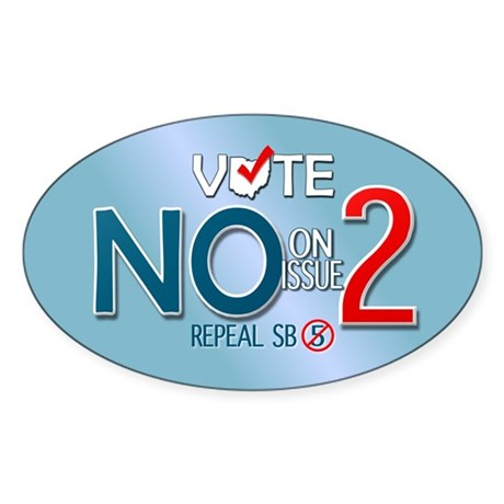 Vote NO Issue 2 Oval Sticker