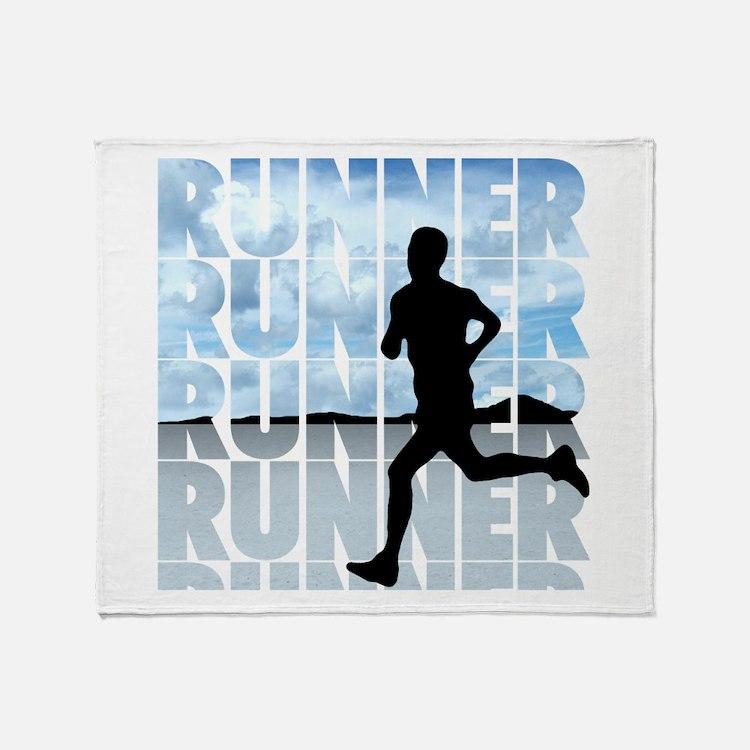 Cute Running marathon Throw Blanket