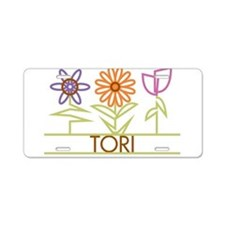 Tori with cute flowers Aluminum License Plate