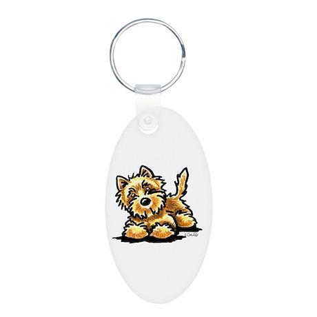 Wheaten Cairn Terrier Aluminum Oval Keychain