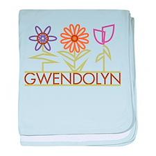 Gwendolyn with cute flowers baby blanket