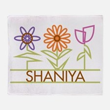 Shaniya with cute flowers Throw Blanket