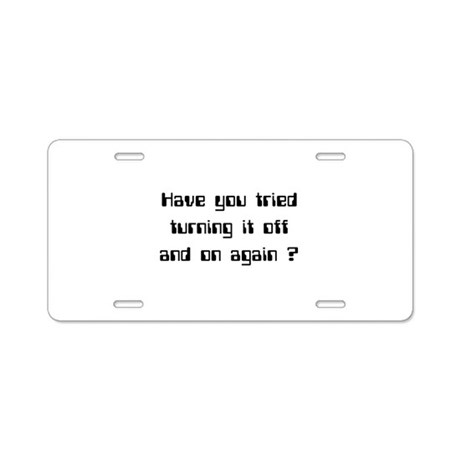 Off and On Aluminum License Plate