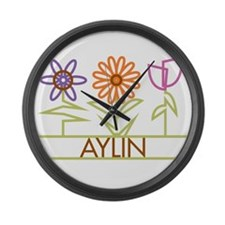 Aylin with cute flowers Large Wall Clock