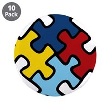 """Autism Awareness Puzzle 3.5"""" Button (10 pack)"""