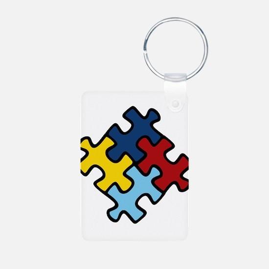 Autism Awareness Puzzle Aluminum Photo Keychain