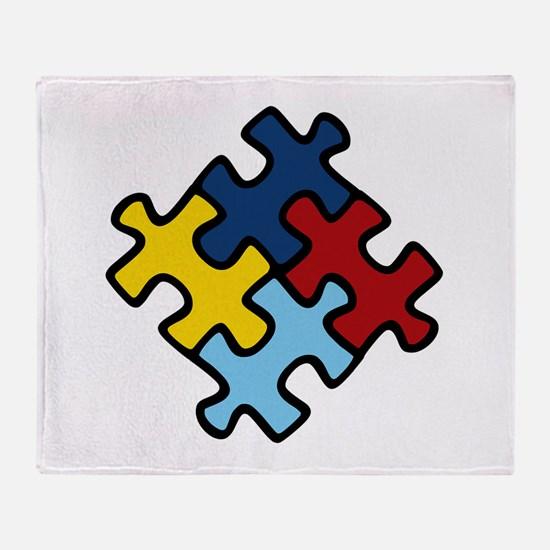 Autism Awareness Puzzle Throw Blanket