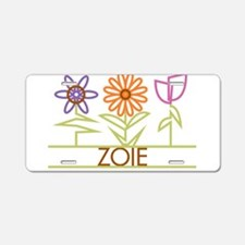 Zoie with cute flowers Aluminum License Plate