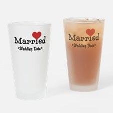 Married (Add Your Wedding Date) Drinking Glass