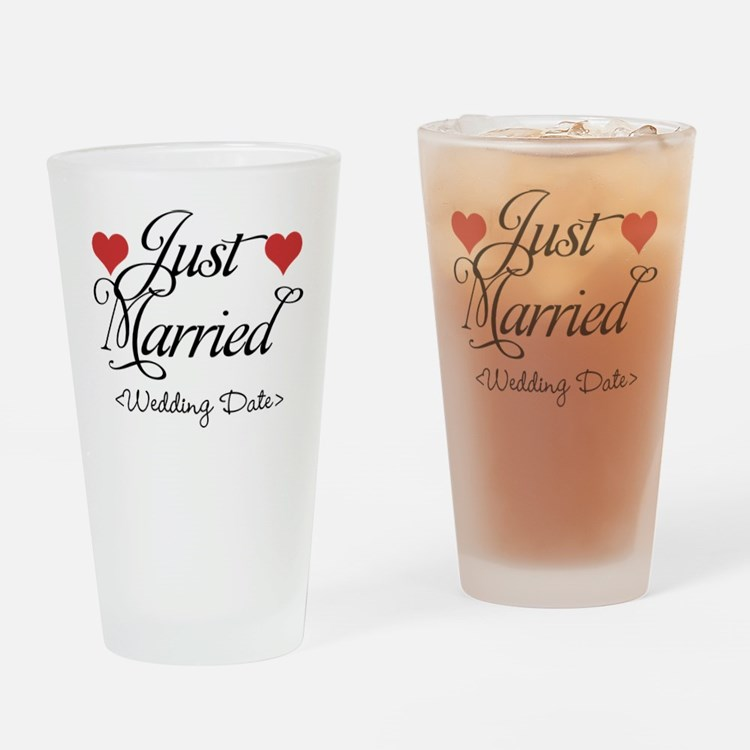 Just Marrried (Add Wedding Date) Drinking Glass