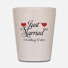 Just Marrried (Add Wedding Date) Shot Glass