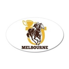 horse racing 22x14 Oval Wall Peel