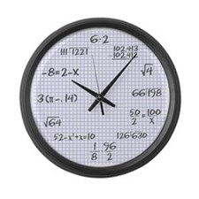 Pencil on graph paper Large Wall Clock