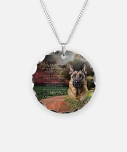 """Why God Made Dogs"" GSD Necklace Circle Charm"