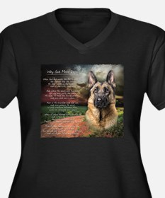 """Why God Made Dogs"" GSD Women's Plus Size V-Neck D"