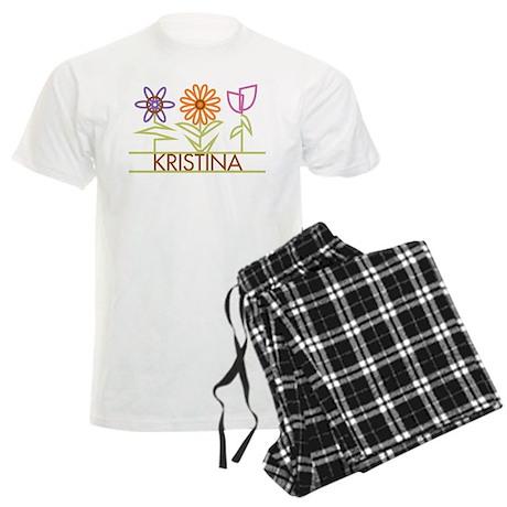 Kristina with cute flowers Men's Light Pajamas
