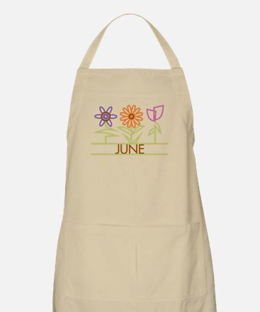 June with cute flowers Apron
