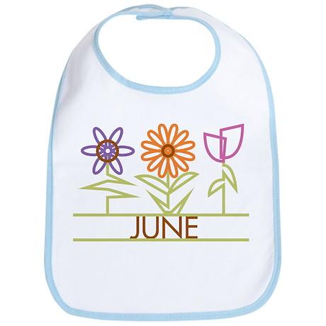 June with cute flowers Bib