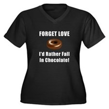 Forget Love Chocolate Women's Plus Size V-Neck Dar