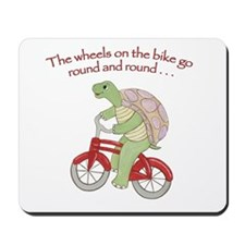 Turtle Riding Bicycle Mousepad