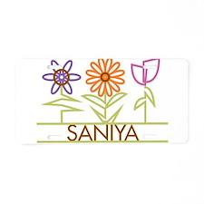 Saniya with cute flowers Aluminum License Plate