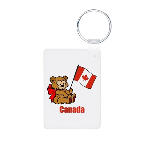 Canada Teddy Bear Aluminum Photo Keychain