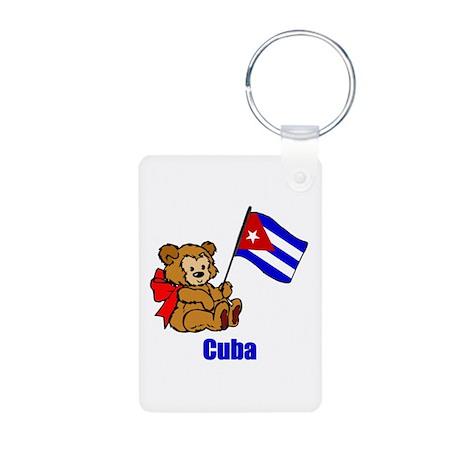 Cuba Teddy Bear Aluminum Photo Keychain