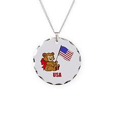 USA Teddy Bear Necklace