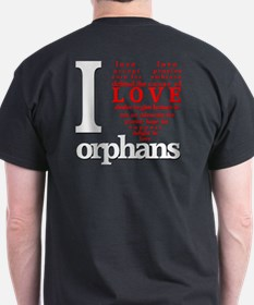I Love Orphans front and back T-Shirt