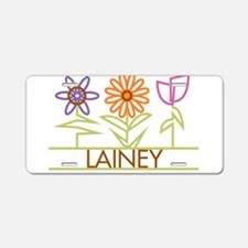 Lainey with cute flowers Aluminum License Plate