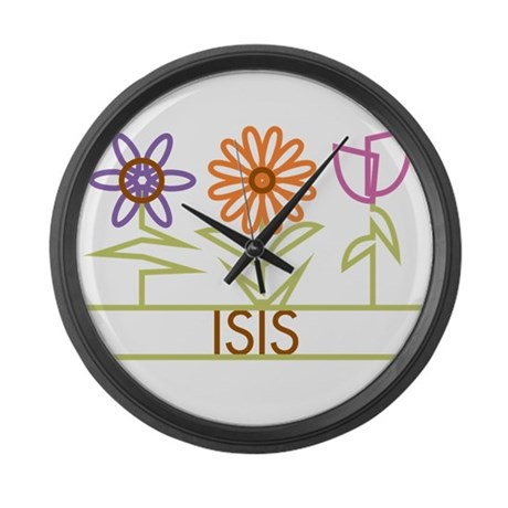 Isis with cute flowers Large Wall Clock