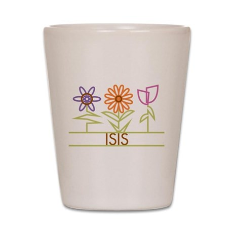 Isis with cute flowers Shot Glass