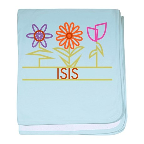 Isis with cute flowers baby blanket