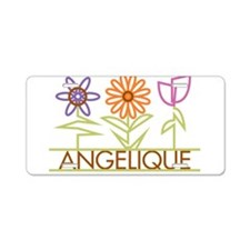 Angelique with cute flowers Aluminum License Plate