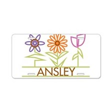 Ansley with cute flowers Aluminum License Plate