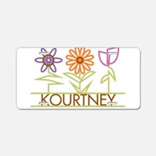 Kourtney with cute flowers Aluminum License Plate