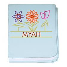 Myah with cute flowers baby blanket