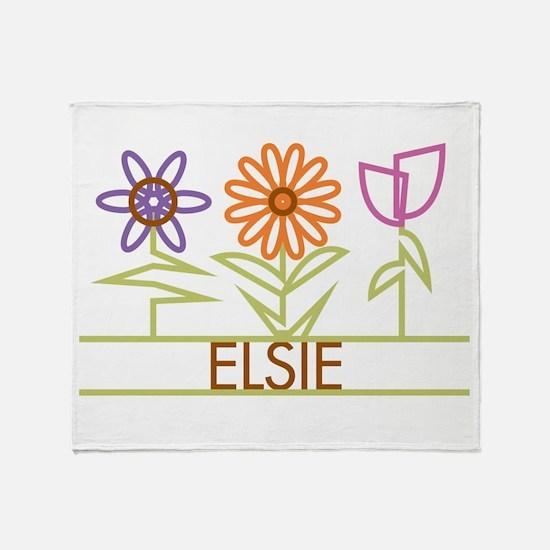 Elsie with cute flowers Throw Blanket