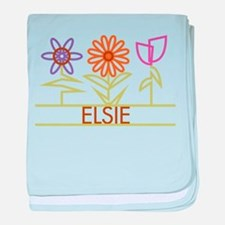Elsie with cute flowers baby blanket