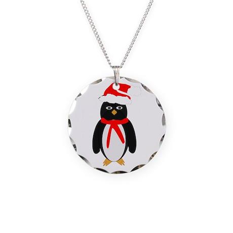 Christmas Penguin Necklace Circle Charm