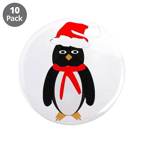 "Christmas Penguin 3.5"" Button (10 pack)"